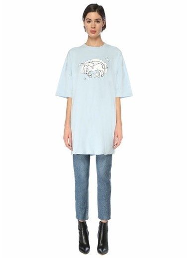 Vetements Vetements Oversize  Bisiklet Yaka Baskılı T-shirt 101600737 Mavi
